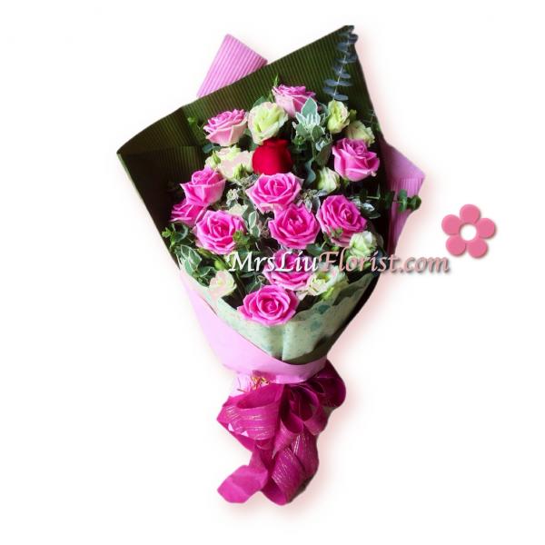 RB07-11支瑪利亞玫瑰1支紅玫瑰-1
