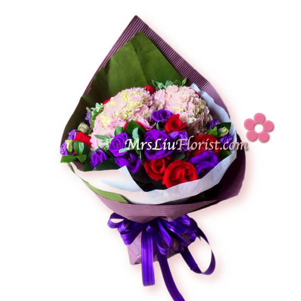 RB17-繡球花紅玫花束-1